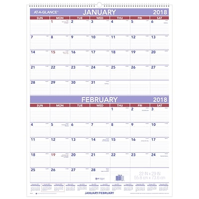 2018 AT-A-GLANCE® Two Month Wall Calendar, January 2018 - December 2018, 22 x 29, White (PM9-28-18)