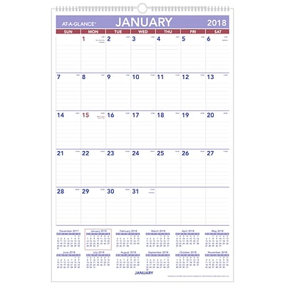 2018 AT-A-GLANCE® Monthly Wall Calendar, January 2018 - December 2018, 20 x 30, Wirebound (PM4-28-18)