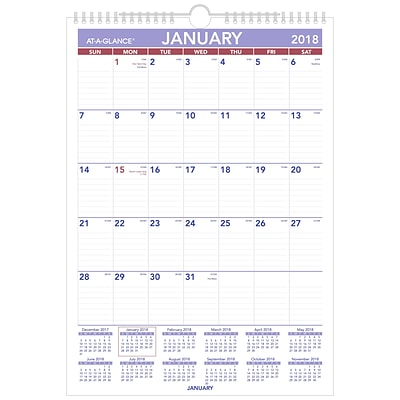 2018 AT-A-GLANCE® Monthly Wall Calendar, January 2018 - December 2018, 12 x 17, Wirebound (PM2-28-18)
