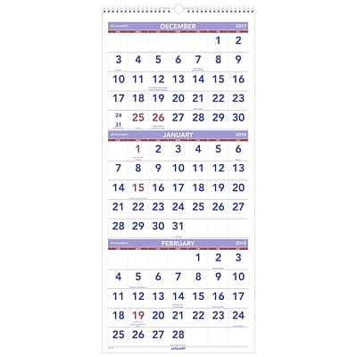2018 AT-A-GLANCE® 3-Month Reference Wall Calendar, Vertical, 12 x 27 (PM11-28-18)