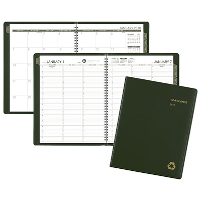 2018 AT-A-GLANCE® Recycled Weekly/Monthly Appointment Book/Planner, 8-1/4x 10-7/8, Green (70-950G-60-18)