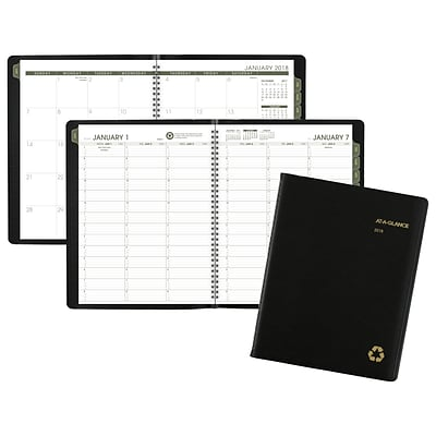 2018 AT-A-GLANCE® Recycled Weekly/Monthly Appointment Book/Planner, 8-1/4x 10-7/8, Black (70-950G-05-18)