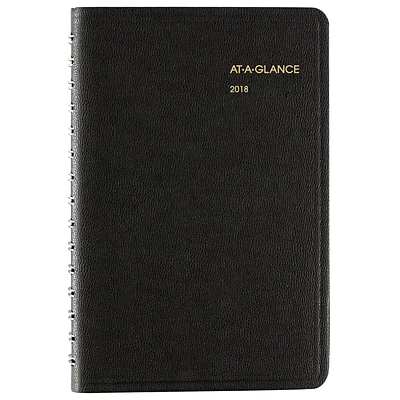 2018 AT-A-GLANCE® Daily Appointment Book/Planner, 4-7/8 x 8, Black (70-800-05-18)