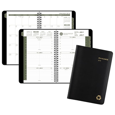 2018 AT-A-GLANCE® Recycled Weekly/Monthly Appointment Book/Planner, 4 7/8x8, Black (70-100G-05-18)