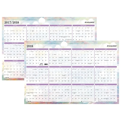 2018 AT-A-GLANCE® Wall Planner, Reversible, Erasable, January 2018 - December 2018, 24 x 36, Dreams (PM83-550-18)