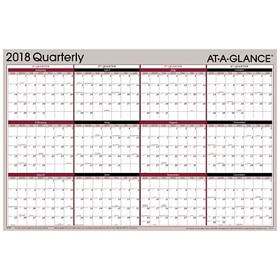 2018 AT-A-GLANCE® Vertical/Horizontal Erasable Quarterly Wall Planner, Reversible, 12 Month, January Start, 36 x 24 (A123-18)