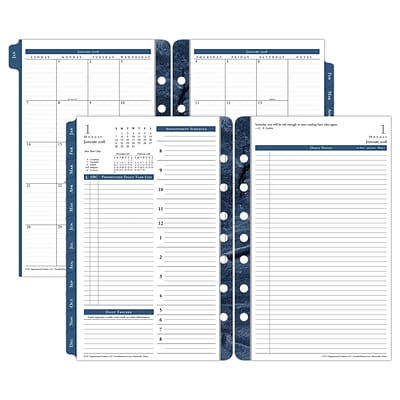 2018 Franklin Covey® Monticello Two Page Per Day Planner Refill, Loose-Leaf, 5-1/2 x 8-1/2, White/Blue (36229-18)