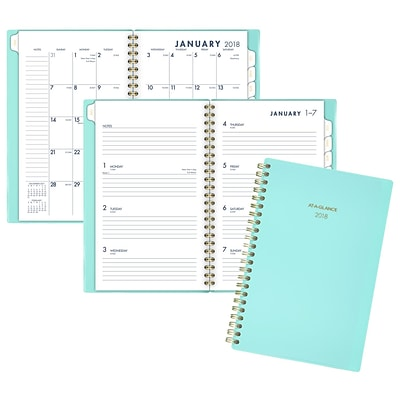 2018 AT-A-GLANCE® Color Bar Weekly/Monthly Planner, 12 Months, January Start, 4-7/8 x 8, Teal (1078-200-42-18)