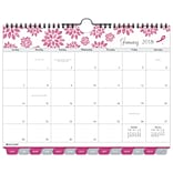 2018 Day-Timer®® Monthly Wall Calendar, Tabbed, January 2018-December 2018, 11x8-1/2, Pink Ribbon,