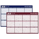 2018 AT-A-GLANCE® Horizontal Erasable Yearly Wall Planner, Reversible, 12 Months, January Start, 48