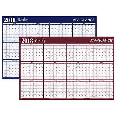 2018 AT-A-GLANCE® Horizontal Erasable Yearly Wall Planner, Reversible, 12 Months, January Start, 48 x 32, Red/Blue (A152-18)