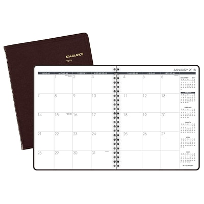 2018 AT-A-GLANCE® Monthly Planner, 6-7/8 x 8-3/4, Winestone (70-120-50-18)
