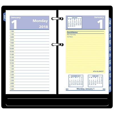 2018 AT-A-GLANCE® QuickNotes® Daily Loose-Leaf Desk Calendar Refill, 12 Months, January Start, 3-1/2 x 6 (E517-50-18)