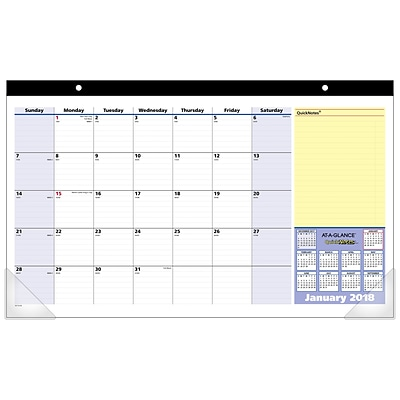2018 AT-A-GLANCE® Compact Monthly Desk Pad Calendar, QuickNotes®, January 2018-January 2019, 17 3/4x10 7/8 (SK710-00-18)