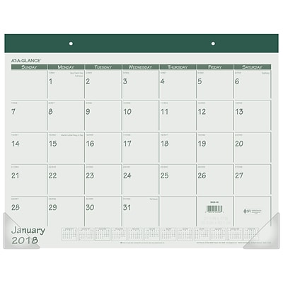 2018 AT-A-GLANCE® Monthly Desk Pad Calendar, January 2018 - December 2018, 22 x 17, Fashion Color, Green (SK25-03-18)