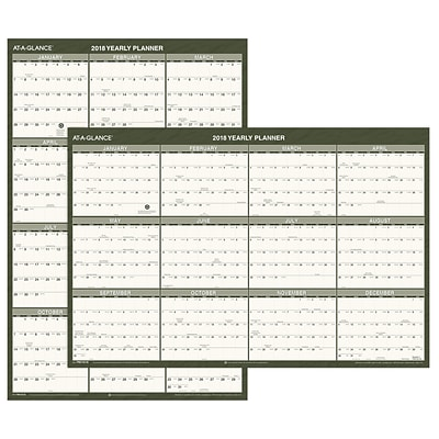 2018 AT-A-GLANCE® Vertical / Horizontal Wall Calendar, Recycled, January 2018 - December 2018, 24 x 36 (PM212G-28-18)
