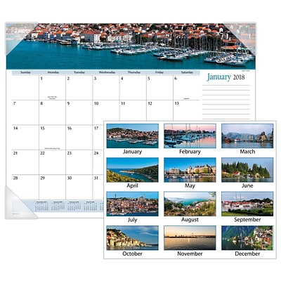 2018 AT-A-GLANCE® Harbor Views Panoramic Desk Pad, 12 Months, January Start, 22 x 17, White (DMD145-32-18)