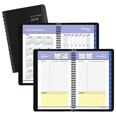2018 AT-A-GLANCE® QuickNotes® Daily/Monthly Appointment Book, 4-7/8 x 8, Black (76-04-05-18)