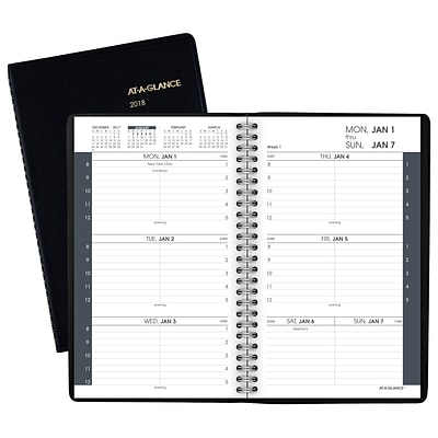 "2018 AT-A-GLANCE® Weekly Appointment Book/Planner, 4 7/8"" x 8"", Black (70-100-05-18)"