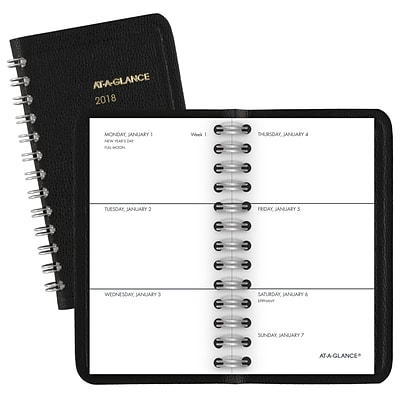 2018 AT-A-GLANCE® Unruled Weekly Pocket Planner, 2 1/2 x 4 1/2, Black (70-035-05-18)