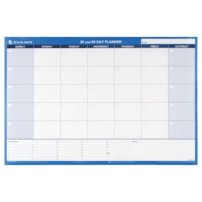 "2018 AT-A-GLANCE® 30/60-Day Undated Horizontal Erasable Wall Calendar, Reversible, 2017, 36"" x 24"" (PM233-28)"