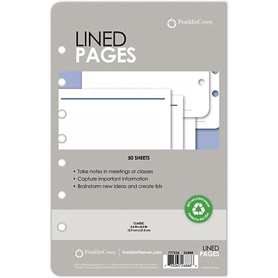 Franklin Covey® Lined Pages for Organizer, 50 Sheets, 5 1/2 x 8 1/2 (26888)