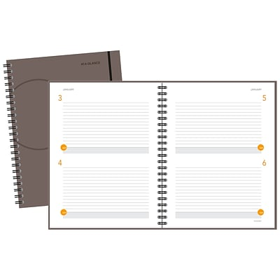 AT-A-GLANCE® Two Days Per Page Planning Notebook, Gray, 8-1/2 X 11 (80-6204-30)