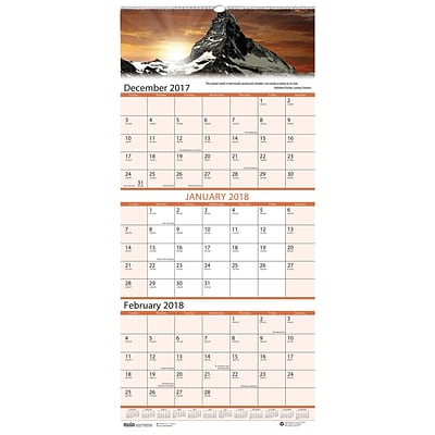 2018 House of Doolittle 8 x 17 Wall Calendar, 3 Month View, Earthscapes Scenic (3636)