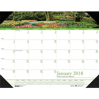 2018 House of Doolittle 22 x 17 Desk Pad Calendar, Earthscapes Gardens (174)