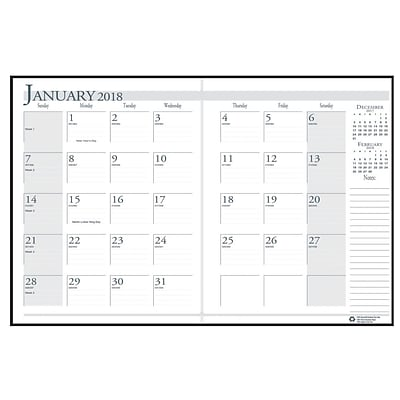 2018 House of Doolittle 8.5 x 11 Economy Monthly Planner, Black/Blue (260-02)