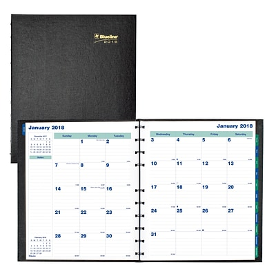 2018 Blueline® 11 x 9-1/16 MiracleBind™ Monthly Planner, 17 Months, Hard Cover, Black (CF1512C.81)