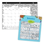 2018 Blueline® 11 x 8-1/2 Monthly DoodlePlan™ Mini Coloring Desk Pad Calendar, Botanica, 3 Hole Pu