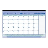 2018 Brownline® 17-3/4 x 10-7/8 Monthly Desk Pad Calendar, Blue and White (C181700)