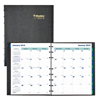 2018 Blueline® 9-1/4 x 7-1/4 MiracleBind™ Monthly Planner, 17 Month, Hard Cover, Black (CF1200C.81)