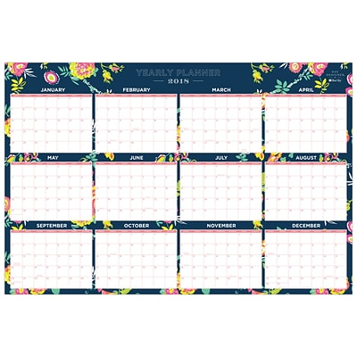 2018 Day Designer for Blue Sky 36 x 24 Monthly Laminated Planner, Peyton Navy (103632)