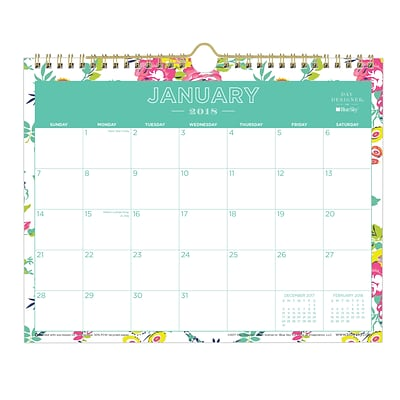 2018 Day Designer for Blue Sky 11 x 8.75 Monthly Wall Calendar, Peyton White (103629)