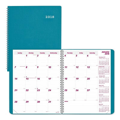2018 Brownline® 11 x 8-1/2 DuraFlex Monthly Planner, 14 Months, Durable Poly, Aqua (CB1262V.AA)