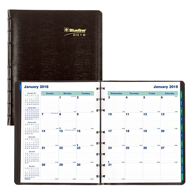 2018 Blueline® 9-1/4 x 7-1/4 MiracleBind™ Monthly Planner, 17 Months, Soft Cover, Black (CF1200.81T)
