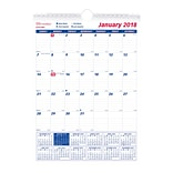 2018 Brownline® 8 x 11 Monthly Wall Calendar, Blue and White (C171101)