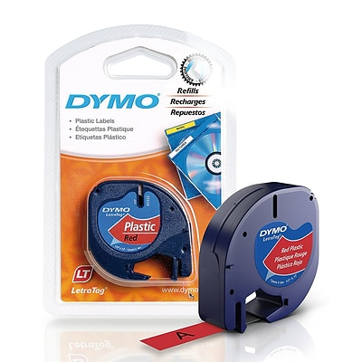 Dymo® Letra Tag Plastic Tape; 1/2W x 13L, Black on Red, 1 Roll