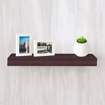 Way Basics 23.6W x 2H Floating Wall Shelf made from zBoard Eco Reycled Paperboard, Espresso