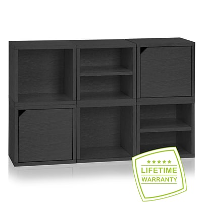 Way Basics Eco Stackable Connect 6 Cube Modular Storage System, Black Wood Grain - Lifetime Guarantee