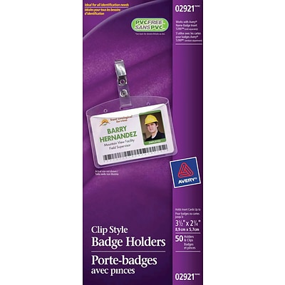 avery clear name badge holder horizontal 3 1 2 h x 2 1 4 w