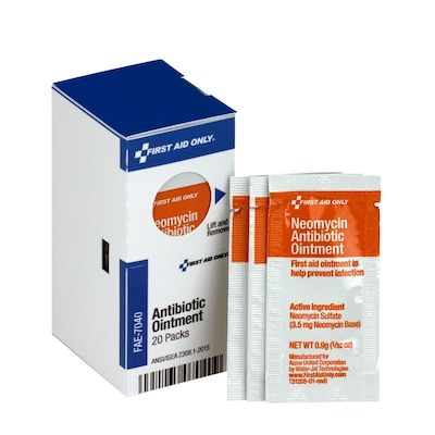 First Aid Only® SmartCompliance® Refill Antibiotic Ointment, 20/Box (FAE-7040)