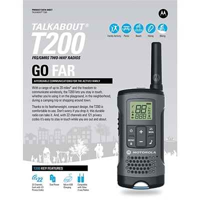 Motorola 20-mile T200 Talkabout 2-way Radios Triple Pack