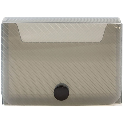 JAM Paper® Large Business Card Holder, 2.25 x 3.25 x 1, Smoke, Sold Individually (245232765)