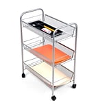 Mind Reader Roll  Rolling Metal Mesh 3 Shelf Cart, Silver