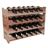 Red Barrel Studio Karnes Redwood Mini Scalloped 24 Bottle Tabletop Wine Rack; Natural