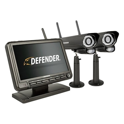 Defender PHOENIXM2 Digital Wireless 7 inch Monitor DVR Security System with 2 Night Vision Cameras and SD Card Recording