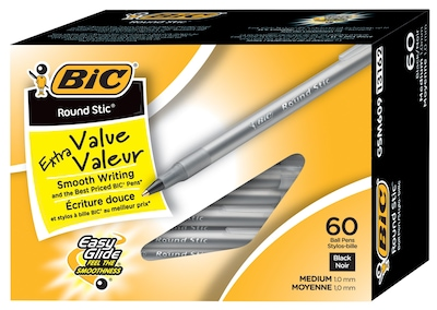 BIC Round Stic Xtra Life Ballpoint Pens, Medium Point (1.0mm), Black, 60/Pk (GSM609BK)